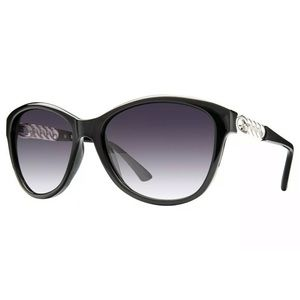 🕶 GUESS SUNGLASSES black soft round front shape & chain link logo detailing 😎